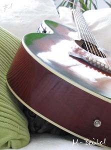 Katze lugt unter Gitarre heraus